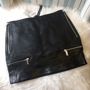 Zara genuine leather mini skirt